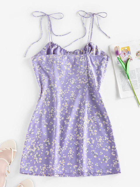 shops ZAFUL Ditsy Print Bowknot Tie Shoulder Cupped Dress - LIGHT PURPLE M Mobile