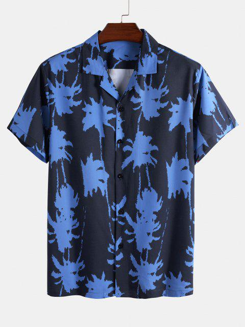 online Palm Tree Paint Print Shirt And Shorts Two Piece Set - BLUE 2XL Mobile