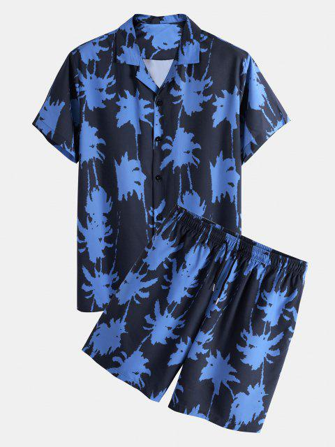 new Palm Tree Paint Print Shirt And Shorts Two Piece Set - BLUE L Mobile