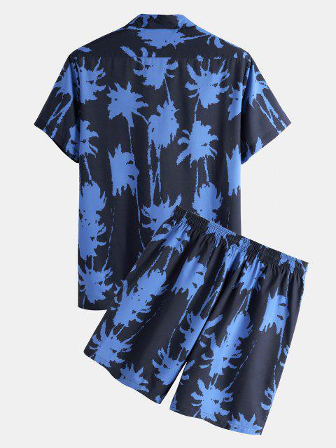 Palm Tree Paint Print Shirt And Shorts Two Piece Set - أزرق S Mobile