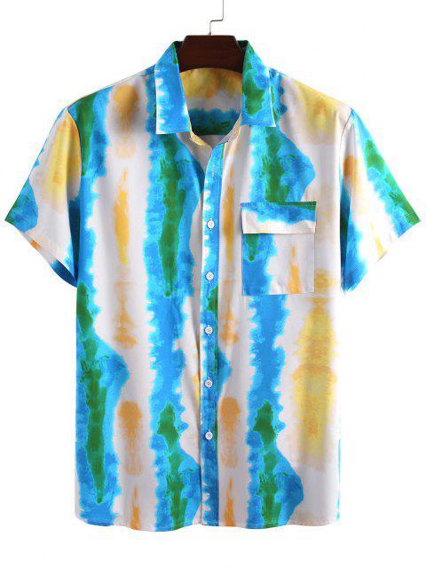 タイダイプリントバケーションシャツとショーツ二点セット - 青 3XL Mobile