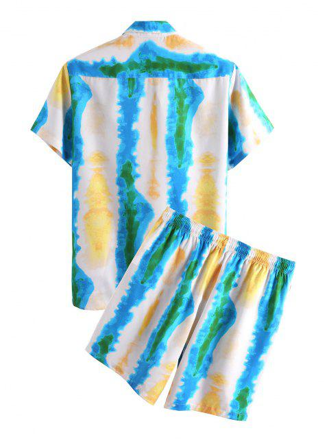 womens Tie Dye Print Vacation Shirt And Shorts Two Piece Set - BLUE XL Mobile