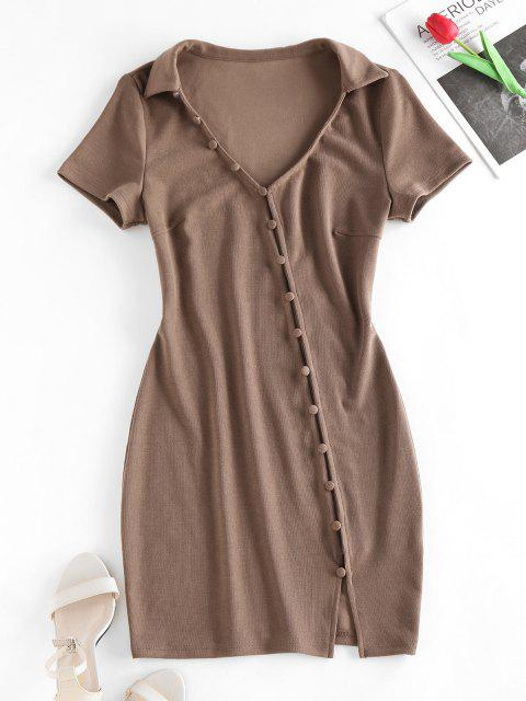 trendy ZAFUL Loop Button Slit Mini Bodycon Dress - COFFEE S Mobile