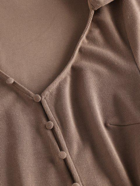 ladies ZAFUL Loop Button Slit Mini Bodycon Dress - COFFEE M Mobile