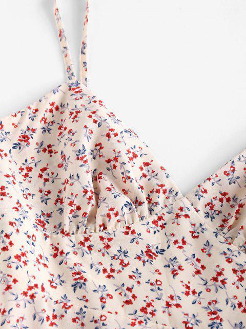 ZAFUL Robe D'Eté Fleurie Au Poitrine à Bretelle à Volants - Multi L Mobile