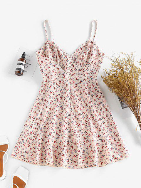 ZAFUL Ditsy Floral Ruched Bust Cami Summer Dress - متعدد S Mobile