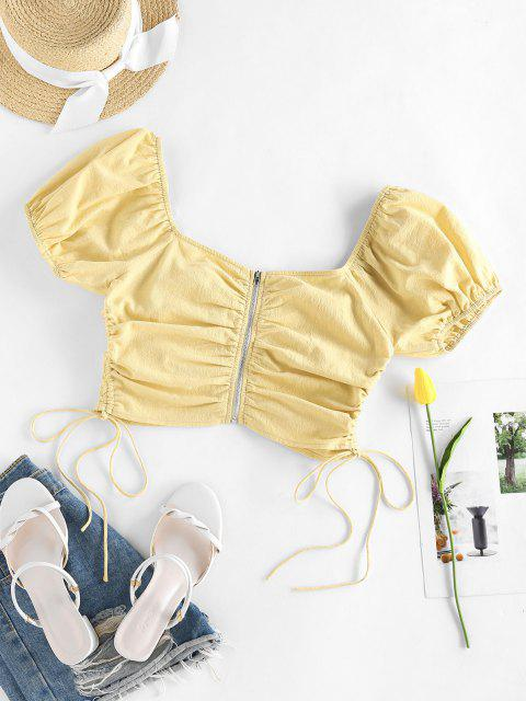 lady ZAFUL Puff Sleeve Cinched Zipper Crop Blouse - LIGHT YELLOW S Mobile