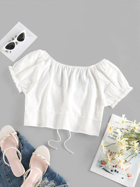 affordable ZAFUL Ruffle Puff Sleeve Tie Front Blouse - WHITE M Mobile