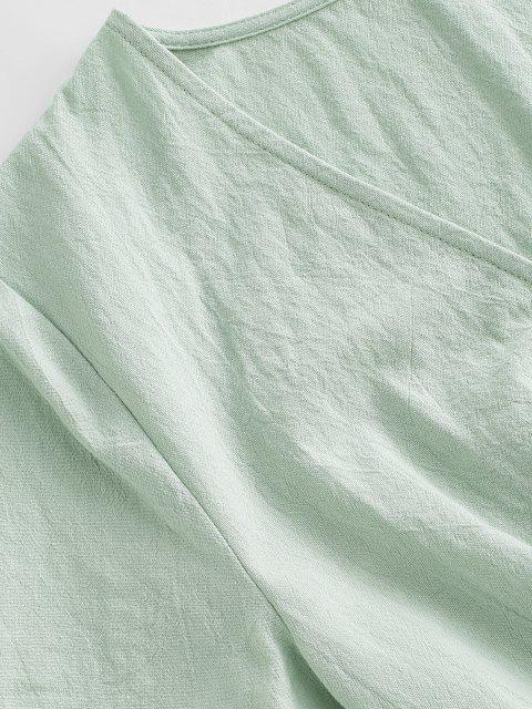 fancy ZAFUL Plunge Mini A Line Dress - LIGHT GREEN L Mobile