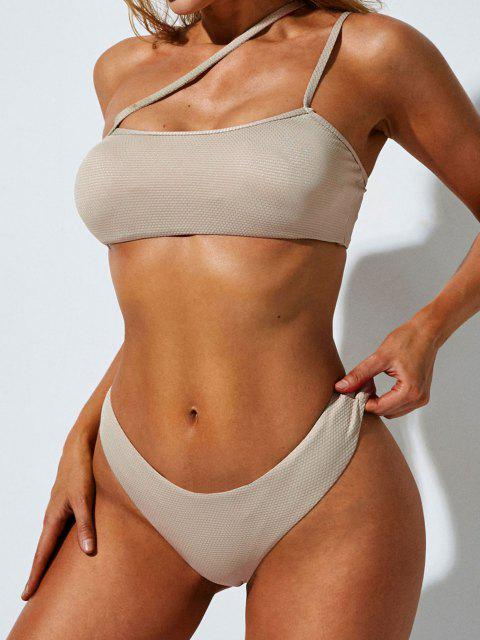 online ZAFUL One Shoulder Asymmetrical Cheeky Bikini Swimwear - LIGHT YELLOW M Mobile