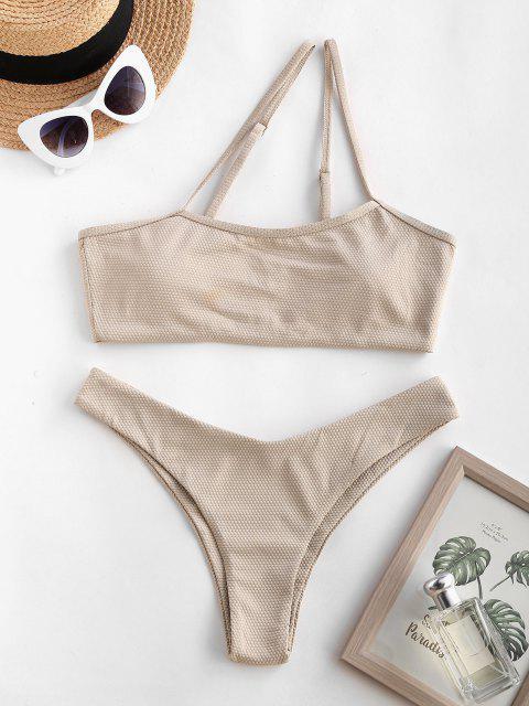 Costume da Bagno Bikini Ruvido Asimmetrico a Monospalla di ZAFUL - Giallo chiaro L Mobile