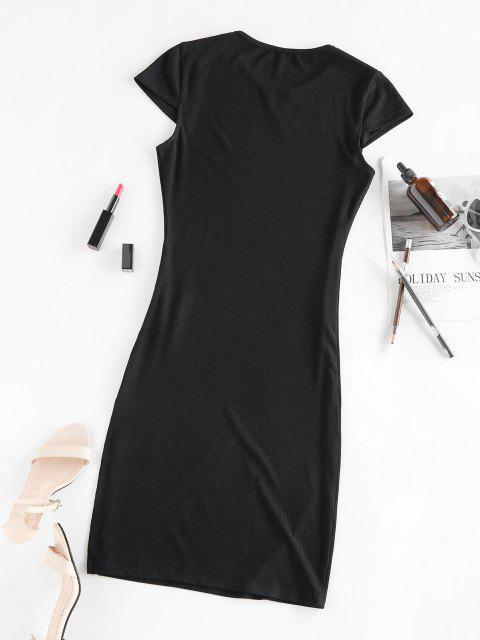 women ZAFUL Cap Sleeve Ribbed Slit Dress - BLACK S Mobile
