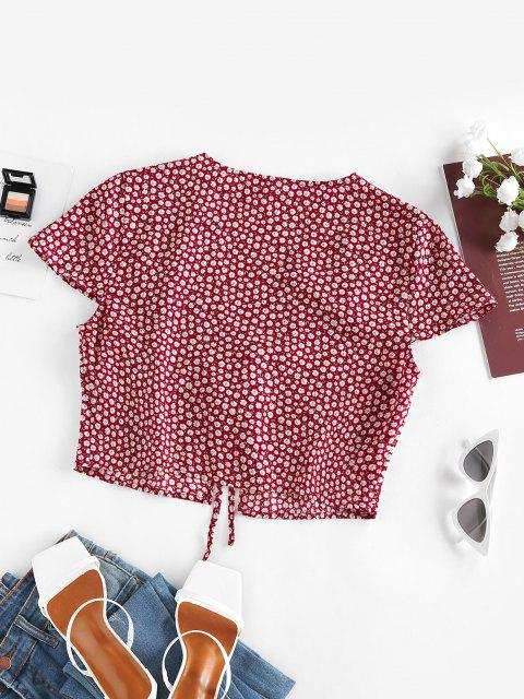 new ZAFUL Ditsy Floral Tied Plunge Crop Blouse - DEEP RED M Mobile