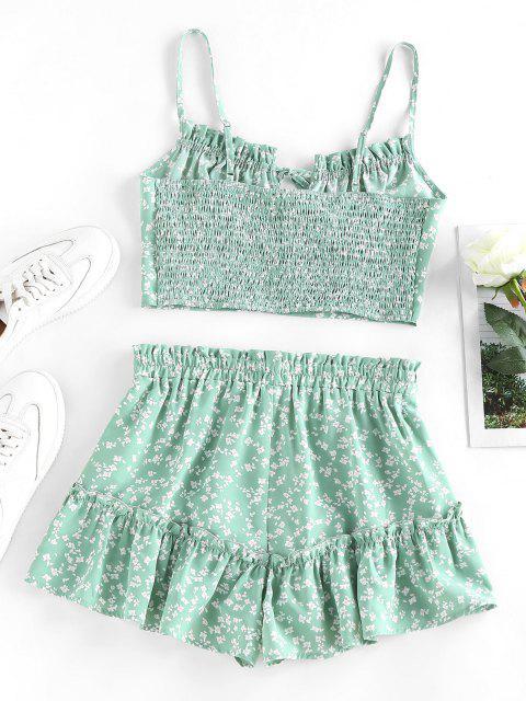 ladies ZAFUL Ditsy Print Ruffle Smocked Loose Shorts Set - LIGHT GREEN L Mobile