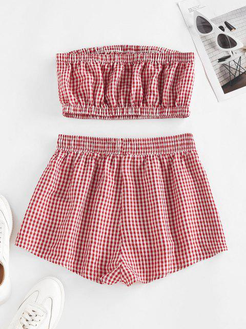 ladies ZAFUL Gingham Ruched Tube Top and Drawstring Shorts Set - DEEP RED M Mobile
