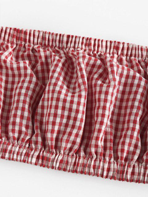 fashion ZAFUL Gingham Ruched Tube Top and Drawstring Shorts Set - DEEP RED S Mobile