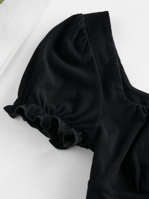 ZAFUL T-shirt com Nervuras de Mangas Compridas Cortado - Preto XL Mobile