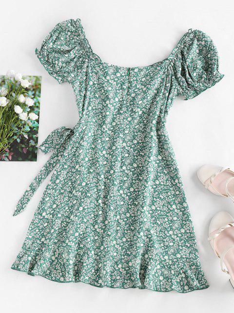 fancy ZAFUL Ditsy Print Ruffle Puff Sleeve Bowknot Dress - GREEN S Mobile