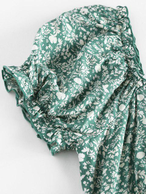 ZAFUL Ditsydruck Rüsche Puff Ärmel Bowknot Kleid - Grün S Mobile