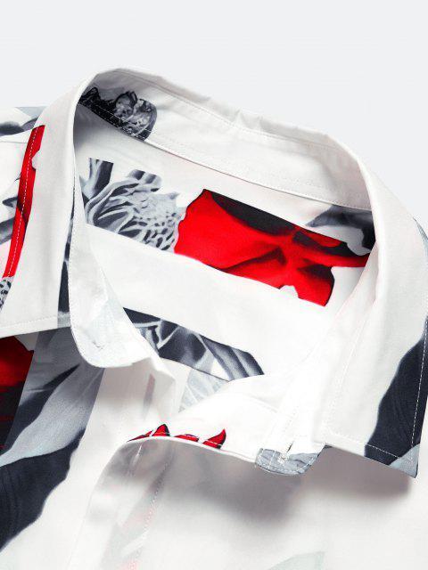 Chemise à Fleur à Manches Courtes - Blanc S Mobile