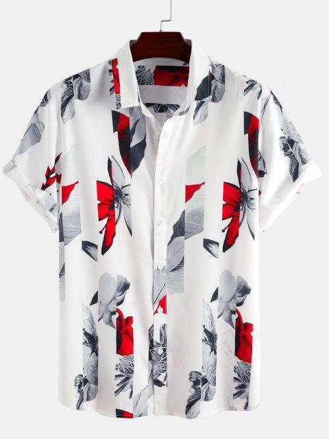 best Short Sleeve Flower Shirt - WHITE M Mobile