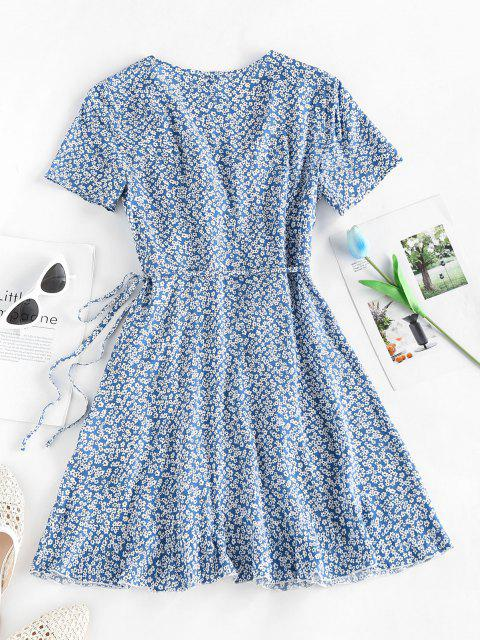 shop ZAFUL Ditsy Floral Ruffled Tie Wrap Dress - LIGHT BLUE S Mobile