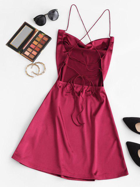 ZAFUL Vestido de Fiesta de Satén con Espalda Abierta con Cordones - Color rojo oscuro S Mobile