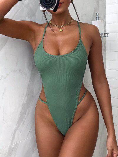 ZAFUL Ribbed Crisscross High Cut Monokini Swimsuit - Deep Green M