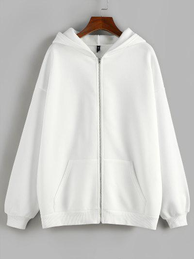 ZAFUL Fleece Lined Drop Shoulder Hooded Zip Coat - White M