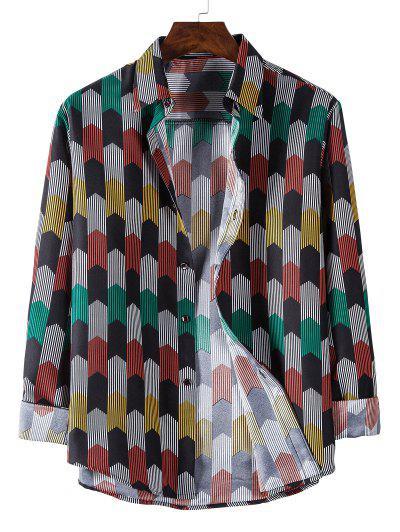 Long Sleeve Colorful Striped Print Shirt - Black Xl