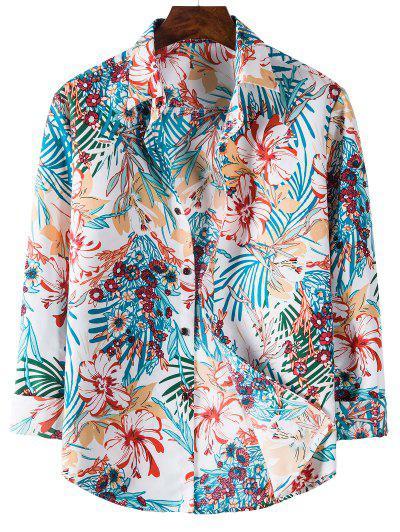Camisa Às Flores De Manga Longa Com Padrão De Tropical - Hera Azul L