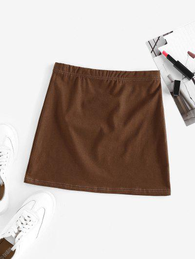 ZAFUL Elastic Waist Solid Mini Skirt - Coffee S