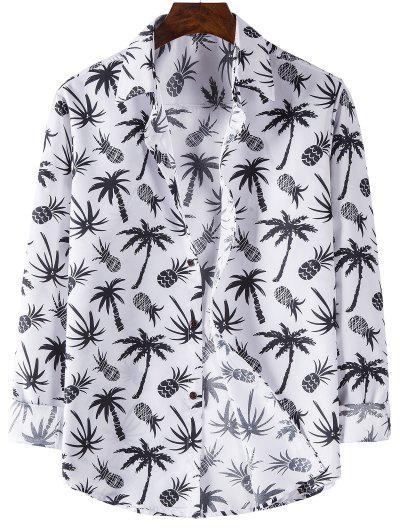 Camisa De Manga Comprida De Impressão De Abacaxi - Branco Xl