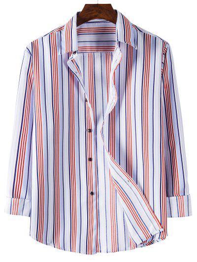 Long Sleeve Striped Print Shirt - Light Pink M