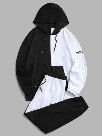 Two Tone Letter Hoodie And Pants Two Piece Set - Black S