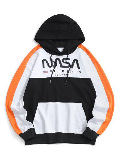 Colorblock Letter American Flag Hoodie - White L