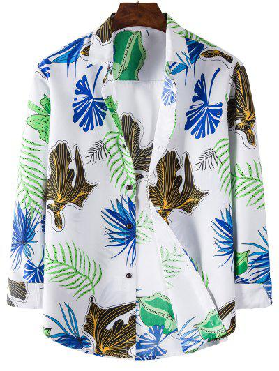 Long Sleeve Leaves Print Shirt - White L
