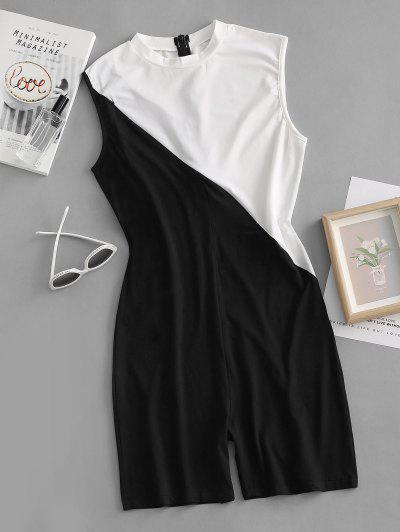 Colorblock Zipper Embellished Unitard Romper - Black S