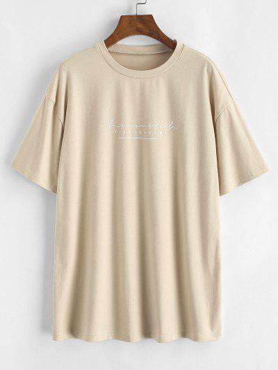 Letter Print Basic Tee - Light Coffee S