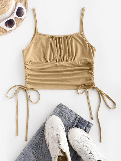 ZAFUL Cinched Side Ruched Bust Crop Top - Tan S