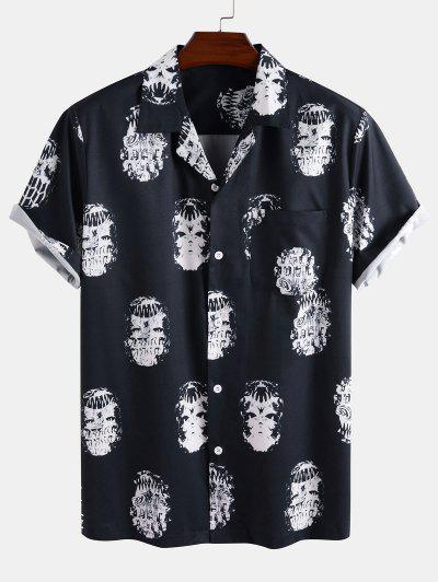 Skeleton Print Pocket Patch Short Sleeve Shirt - Deep Blue 2xl