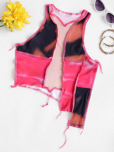 Mesh Panel Tie Dye Topstitching Asymmetrical Crop Top - Light Pink L