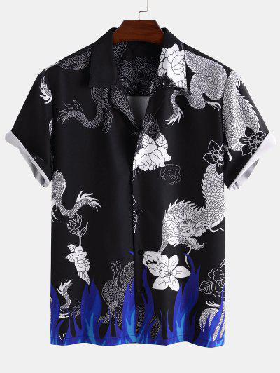 Camisa De Cuello Redondo De Estampado De Flores De Flama Con Mangas Cortas - Negro M
