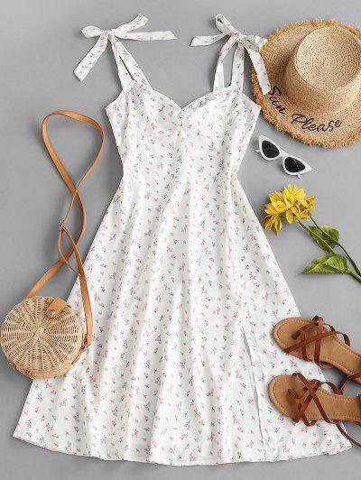 Ditsy Print Tie Shoulder Ruched Slit Dress - White L