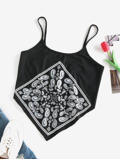 ZAFUL Paisley Print Cami Bandana Top - Black S