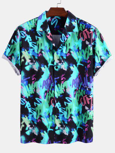 Short Sleeve Graffiti Print Shirt - Blue L
