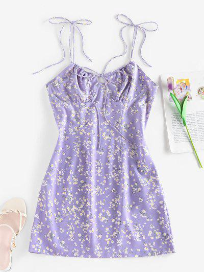 ZAFUL Ditsy Print Bowknot Tie Shoulder Cupped Dress - Light Purple S