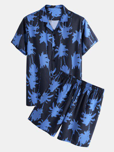 Palm Tree Paint Print Shirt And Shorts Two Piece Set - Blue 2xl