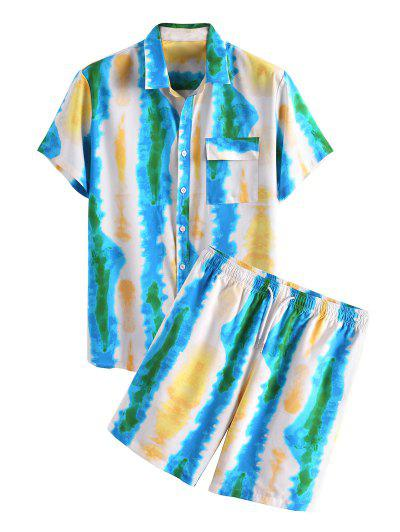 Tie Dye Print Vacation Shirt And Shorts Two Piece Set - Blue 2xl