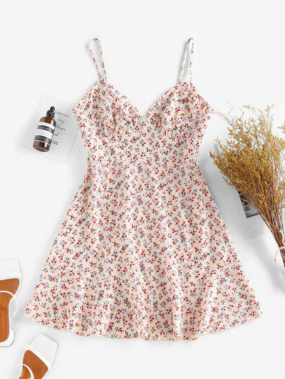 ZAFUL Ditsy Floral Ruched Bust Cami Summer Dress - Multi S